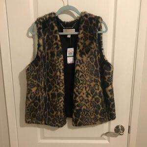 NWT Michael kors faux Leopard Fur Vest